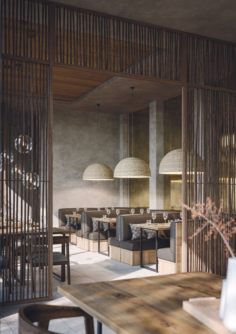 A rendering of the dining room of the new KAORI at the SLS LUX Brickell PHOTO COURTESY OF KAORI