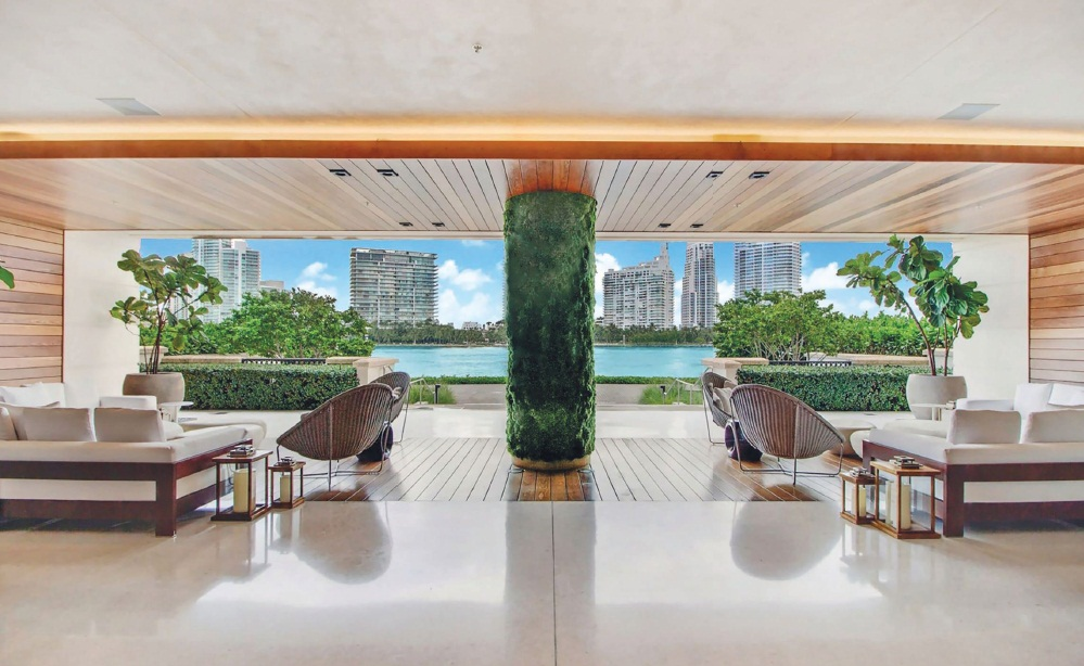 The terrace of residence 7085 at Palazzo del Sol in Fisher Island PHOTO COURTESY OF ONE SOTHEBY'S INTERNATIONAL