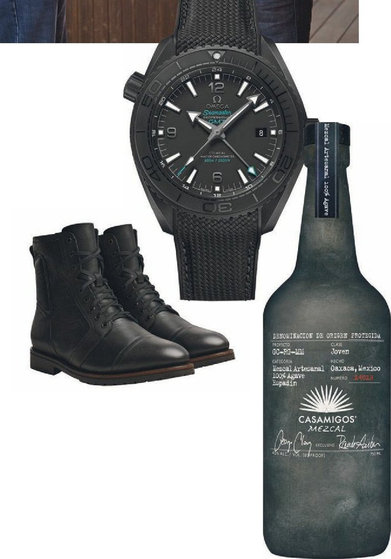 Omega's Seamaster Planet Ocean Deep Black watch; a bottle of Casamigos Mezcal; the Casa Moto boots by Th ursday Boots. All items were designed by Rande Gerber. PHOTO COURTESY OF BRANDS