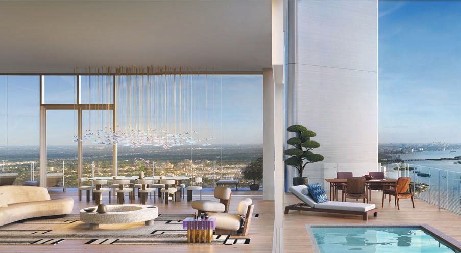 The tower's penthouse includes a private pool. PHOTO COURTESY OF THE PROPERTIES